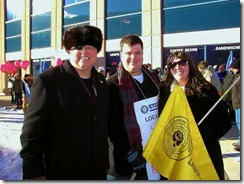 David Black, Sean Smith, Stephanie Smith At FortisBC Locked Out Workers Rally In Trail, B.C. on December 7, 2013