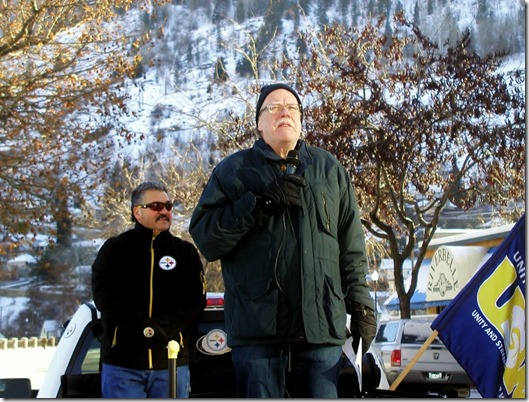 Jim Sinclair (right), president of the BC Federation of Labour addressing locked out FortisBC workers and their supporters at rally in Trail on December 7, 2013. Armiindo deMedeiros (left) president of USW 480.