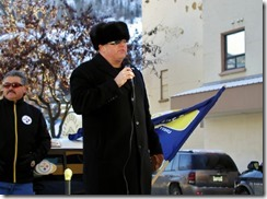 David Black (right) COPE 378 president addressing rally in support of locked out FortisBC workers on December 7, 2013 in Trail B.C. Armindo deMedeiros (left) USW 480 president.