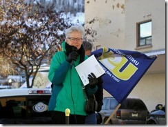 Susan Lambert, former BCTF president bringing greetings from current BCTF presidednt Jim Iker and addressing rally in support of locked out FortisBC workers in Trail B.C. on December 7, 2013.